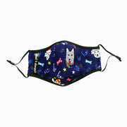 Holiday HoHoHo Dogs Navy Fashion Print Face Mask Washable Reusable Sustainable Adjustable