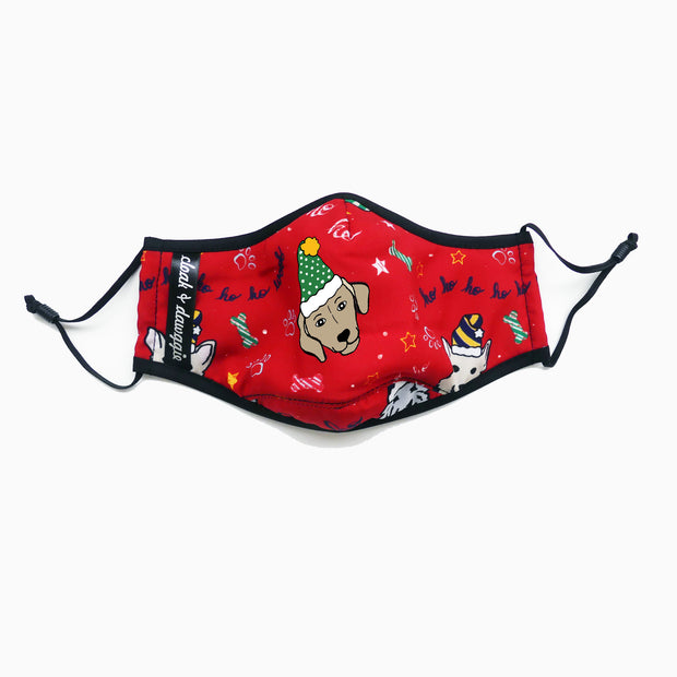 Holiday HoHoHo Dogs Red Fashion Print Face Mask Washable Reusable Sustainable Adjustable