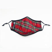 Holiday Tartan Red Plaid Print Face Mask For Humans Washable Adjustable Cloak & Dawggie