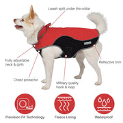 Dog wearing coat with product features high lighted