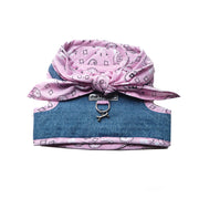 4900 Denim Small Dog Harness with Pink Bandana Scarf Cloak and Dawggie for Teacup small dogs