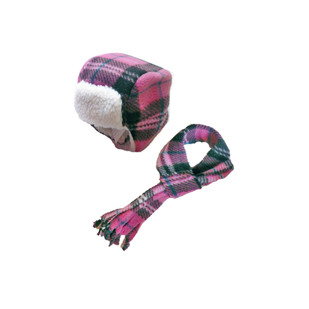 7480 Aviator Hat n Scarf Sets for Dogs in Fleece Prints Up to 90 LBS