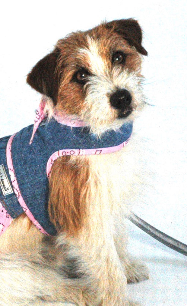 4900 Denim Harness with Pink Bandana Scarf