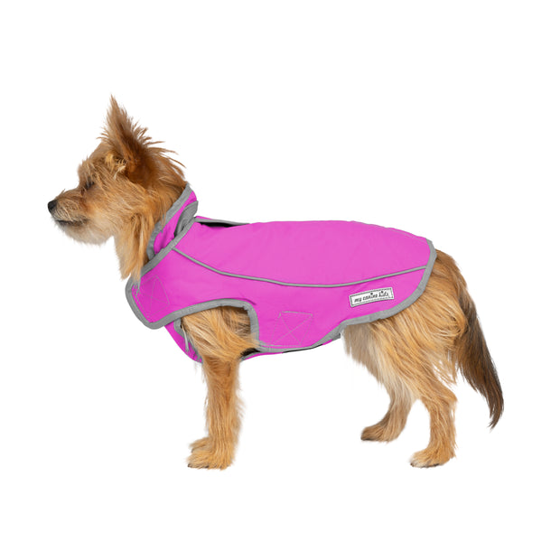2200 Precision Fit Sport Parka Reflective Waterproof Lined Coat Pink on Small Dog