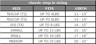 Step n Go Size Chart My Canine Kids Cloak and Dawggie