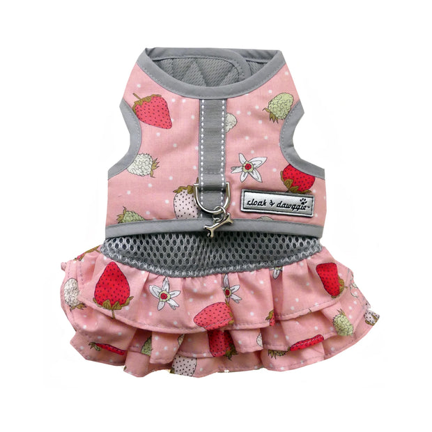7150 Strawberry Print Dog Teacup Harness Vest Up to 8 LBS