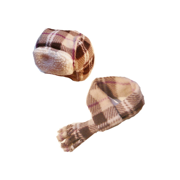 7480 Aviator Hat n Scarf Sets for Dogs in Fleece Prints Up to 120 LBS