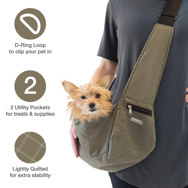Tiny dog sling carrier in olive color with dog in inside and feature call outs