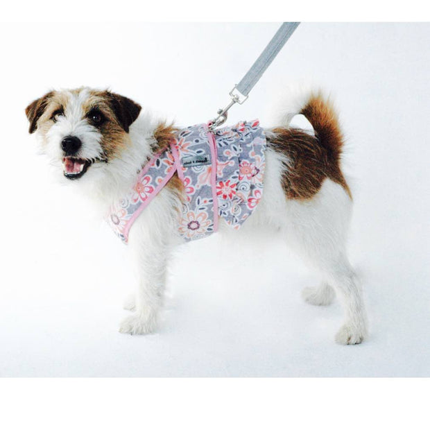 7150 Step n Go Harness Dress for Dogs Pink Floral Print