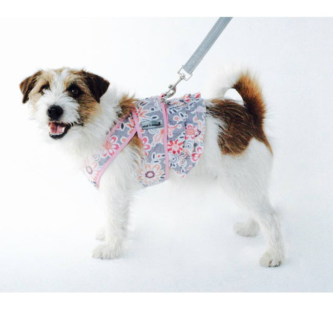 7150 Step n Go Harness Dress for Dogs Pink Floral Print  cloak & dawggie