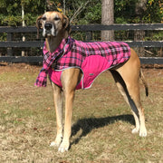 6700 Precision Fit Pink Plaid Printed Fleece Dog Jacket on Large Dog Model Cloak and Dawggie