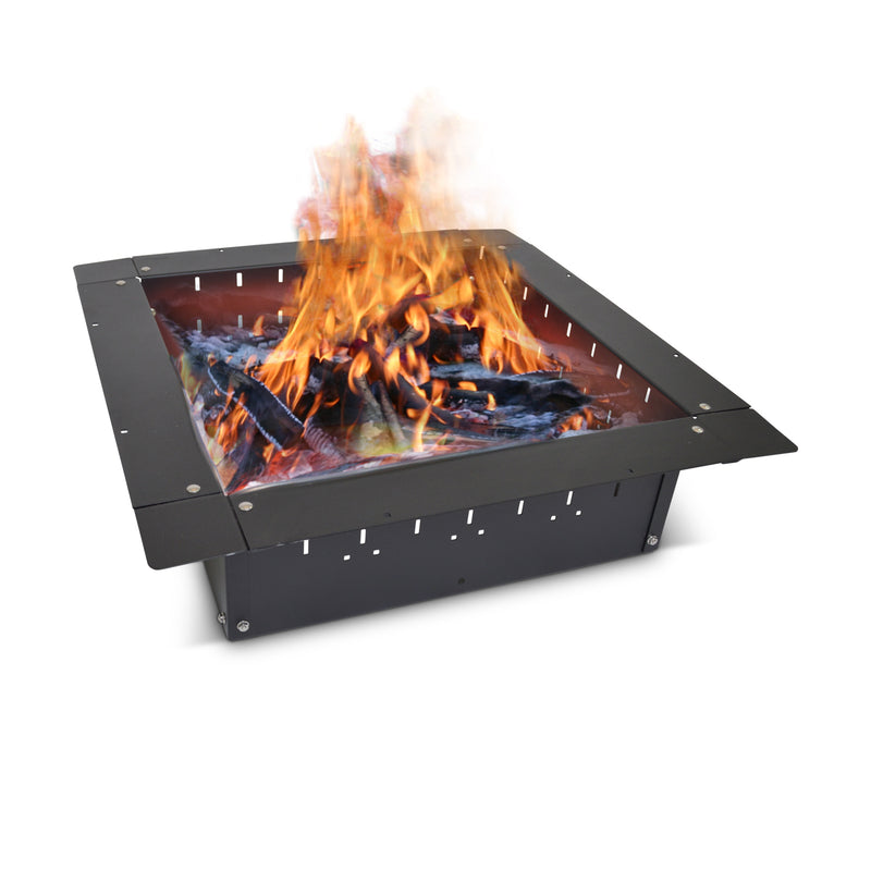 "24"" Steel Black Fire Pit Insert Bundle with Slide Grill, Grill Topper, Wood Grate, Stainless Cover"