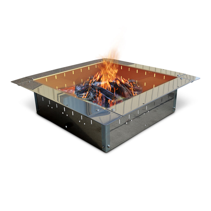 "24"" Stainless Steel Fire Pit Bundle with Slide Grill, Grill Topper, Wood Grate and Fire Pit Lid Cover"