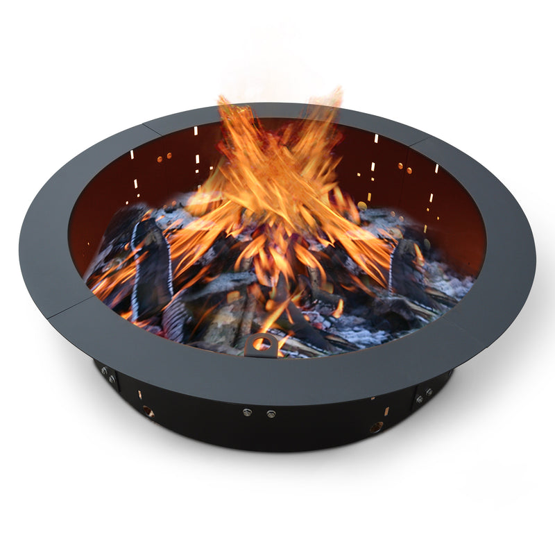 "31"" ID Round Steel Black Fire Pit Insert Bundle with Slide Grill, Grill Topper, Wood Grate, Black High Heat Finish Cover"
