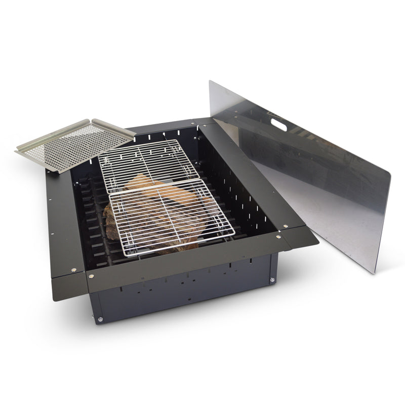 "24""x 36"" Rectangle Steel Black Fire Pit Insert Bundle with Slide Grill, Grill Topper, Wood Grate, Stainless Cover"