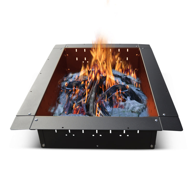 "Firebuggz 36""x24"" rectangle steel fire pit insert"
