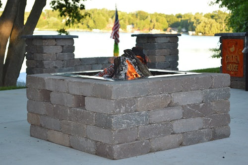 "Firebuggz 24"" square stainless steel fire pit insert, campfire fun pit"