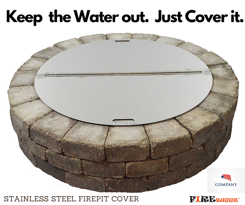"Firebuggz 40"" Round Stainless Steel Fire- Pit Snuffer Lid Cover"