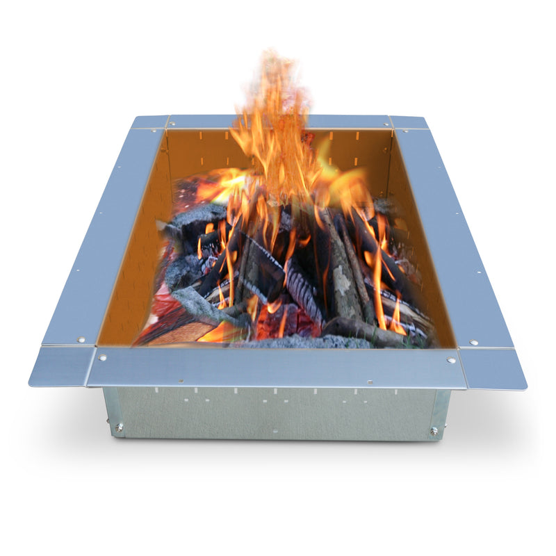 "Firebuggz 36""x24"" rectangle stainless steel fire pit insert, campfire fun pit"