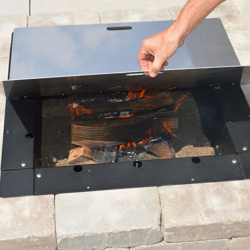 "Firebuggz 32"" x 32"" Square Stainless Steel Fire Pit Snuffer, Cover"