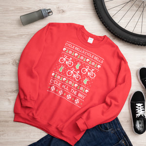 Red Cycling Christmas Sweater Jumper