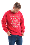 Cyclist with Red Cycling Christmas Sweater