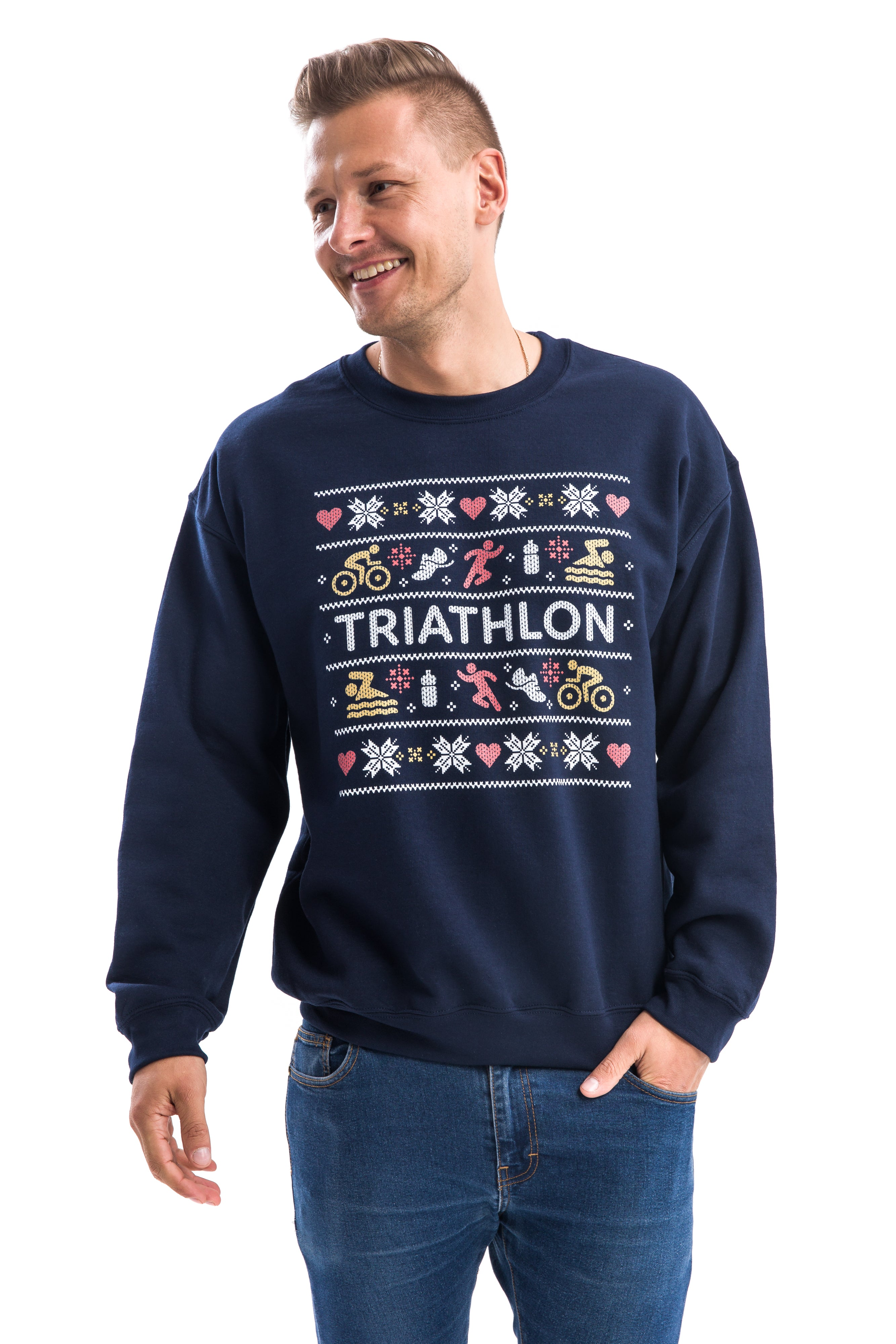 Triathlete with Triathlon Christmas Sweater