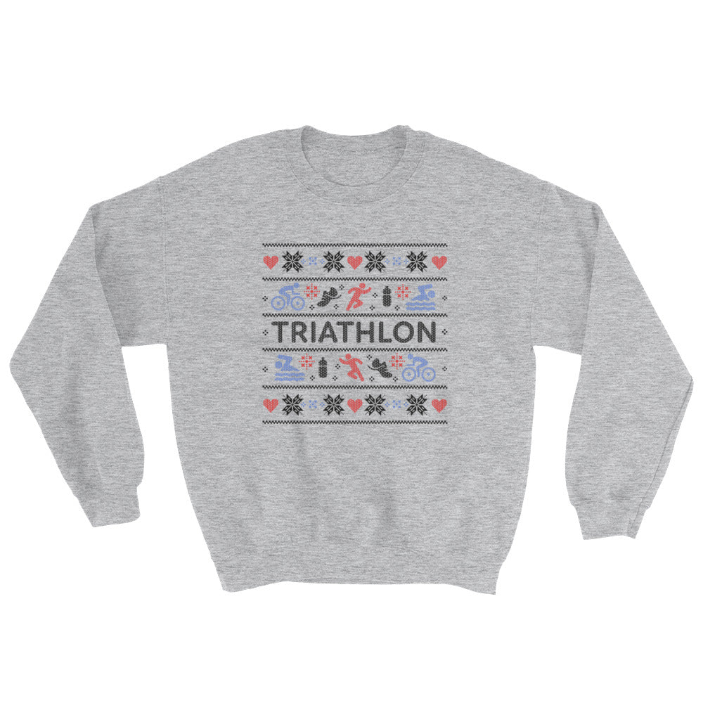 Triathlon Christmas Ugly Sweatshirt - Grey