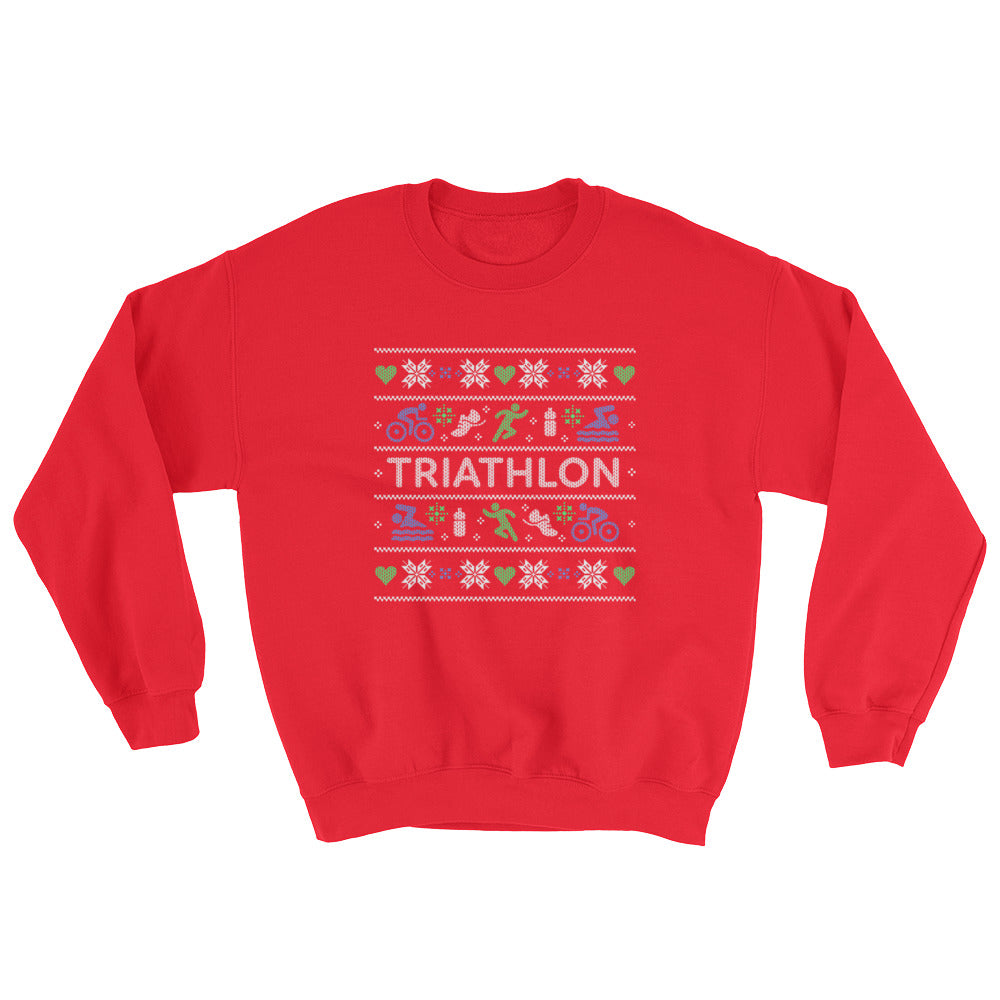 Triathlon Christmas Ugly Sweatshirt - Maroon Red