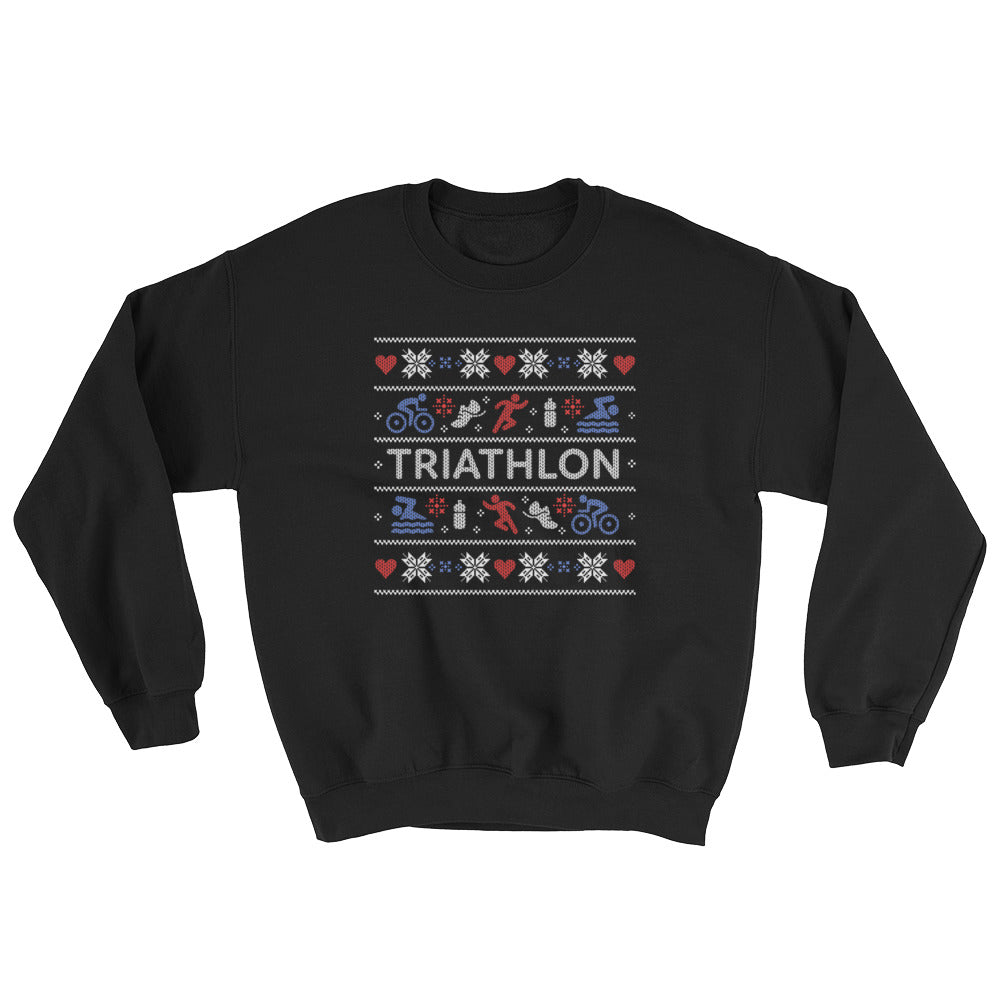 Triathlon Christmas Ugly Sweatshirt - Black