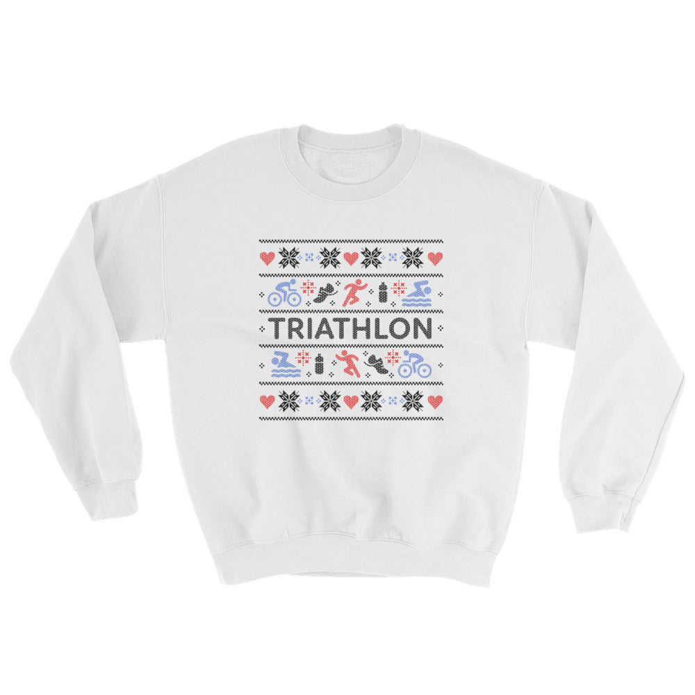 Triathlon Christmas Ugly Sweatshirt - White