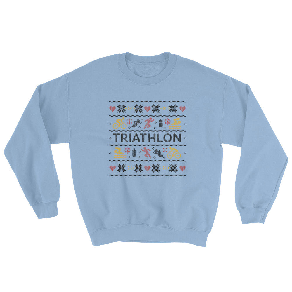 Triathlon Christmas Ugly Sweatshirt - Light Blue