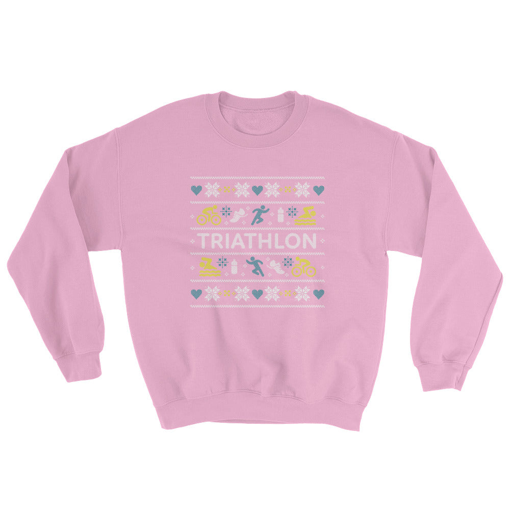 Triathlon Christmas Ugly Sweatshirt - Pink