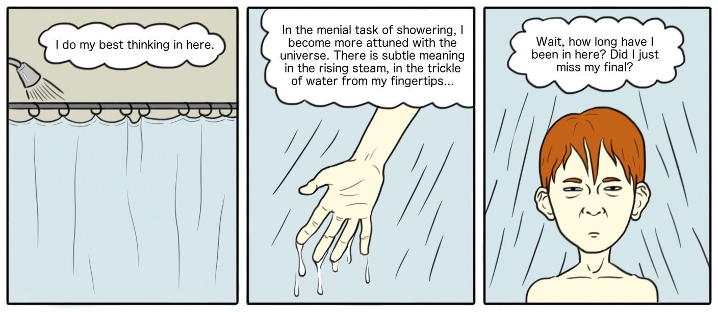 comic man showering