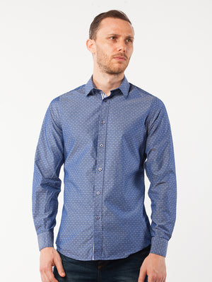 Blue Paisley Printed Dress Shirt