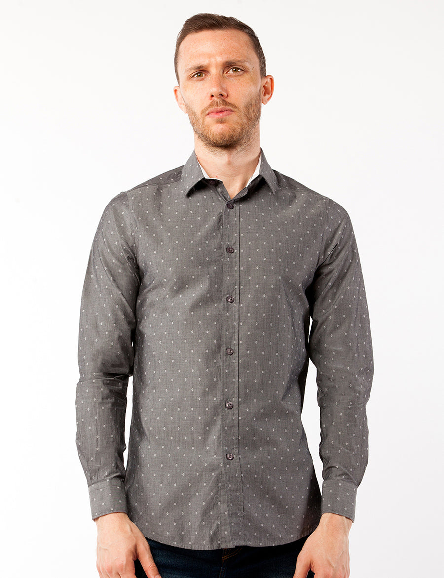 Grey Diamond Print Dress Shirt