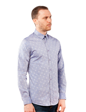 Blue Woven Floral Dress Shirt
