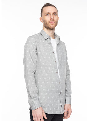 Grey Houndstooth Button-Up Shirt