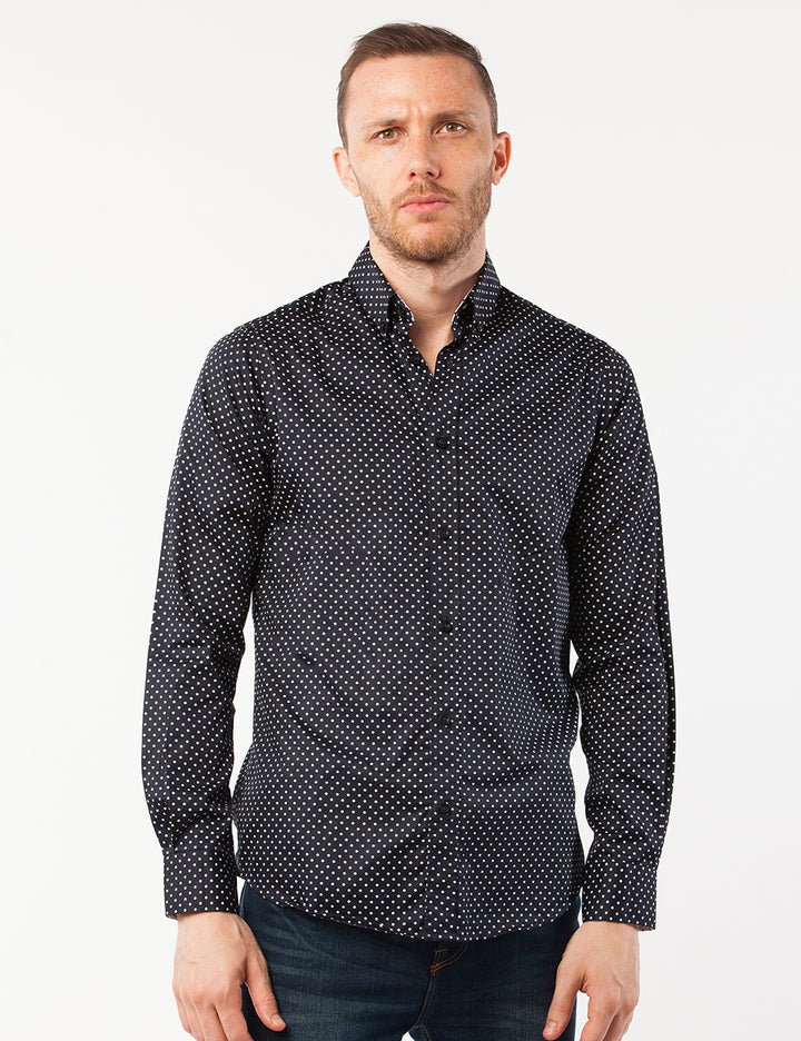 Navy Dotted Dress Shirt