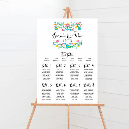 Bohemia Wedding Table Plan
