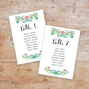 Bohemia Wedding Table Plan Cards