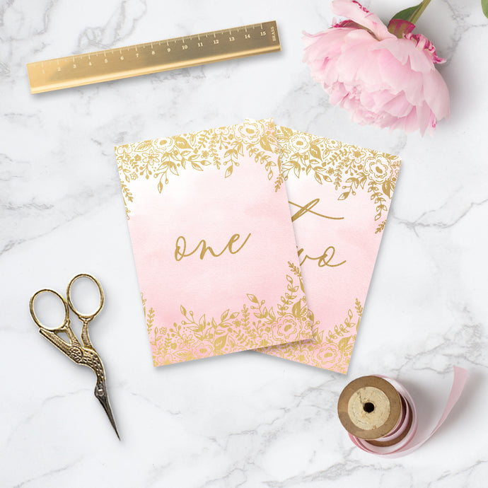 Gold Foil & Blush Enchanted Wedding Table Numbers