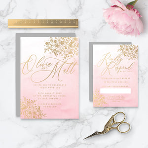 Enchanted Foiled Wedding Invitation & RSVP