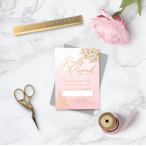 Enchanted Foiled Wedding RSVP Card