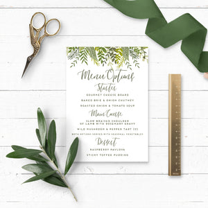 Evergreen Wedding Details Card