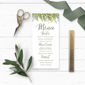 Evergreen Wedding Menu