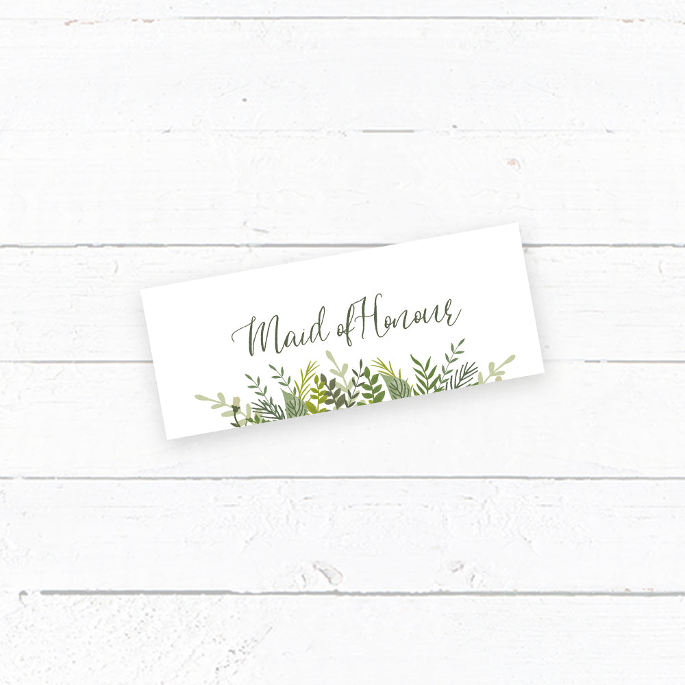 Evergreen Tent Fold Wedding Place Card