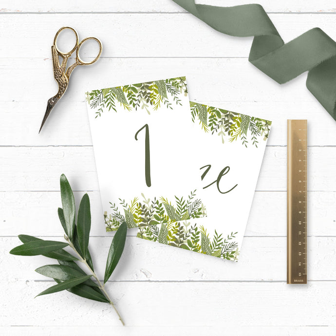 Evergreen Table Names & Numbers