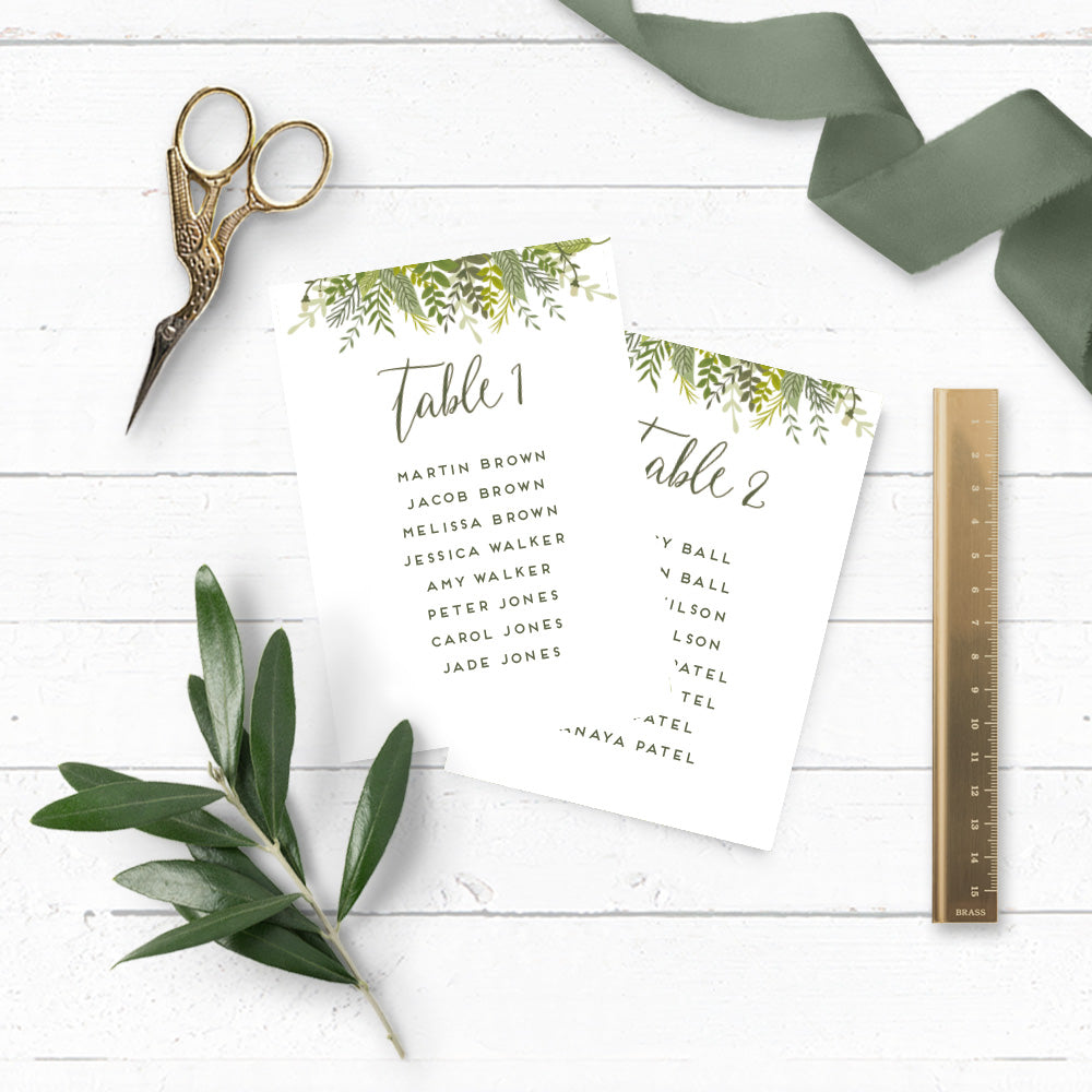 Evergreen DIY Table Plan Cards