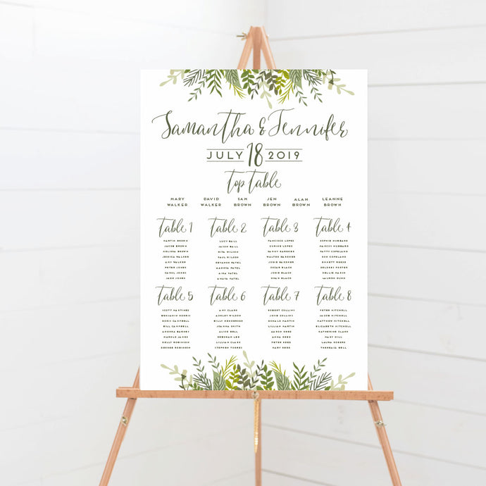 Evergreen Wedding Table Plan
